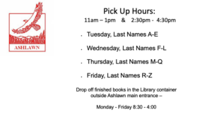Library Book Pick Up Days and Times